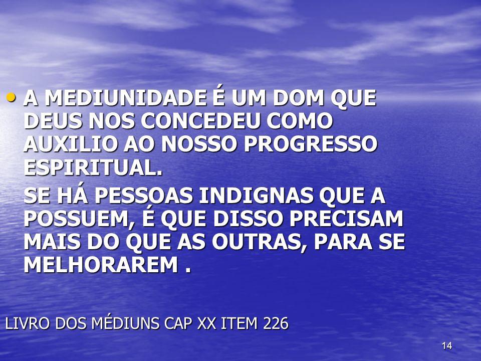 A MEDIUNIDADE É UM DOM QUE DEUS NOS CONCEDEU COMO AUXILIO AO NOSSO PROGRESSO ESPIRITUAL.
