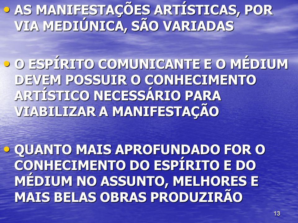 AS MANIFESTAÇÕES ARTÍSTICAS, POR VIA MEDIÚNICA, SÃO VARIADAS