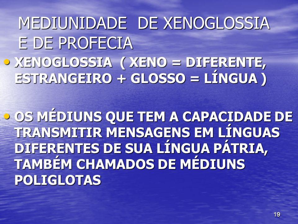 MEDIUNIDADE DE XENOGLOSSIA E DE PROFECIA