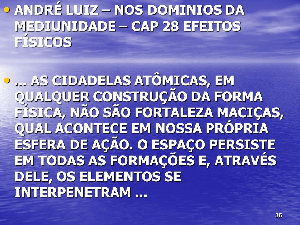 ANDRÉ LUIZ – NOS DOMINIOS DA MEDIUNIDADE – CAP 28 EFEITOS FÍSICOS