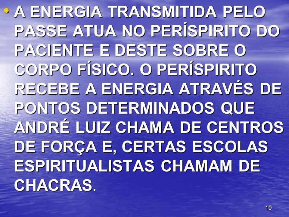 A ENERGIA TRANSMITIDA PELO PASSE ATUA NO PERÍSPIRITO DO PACIENTE E DESTE SOBRE O CORPO FÍSICO.