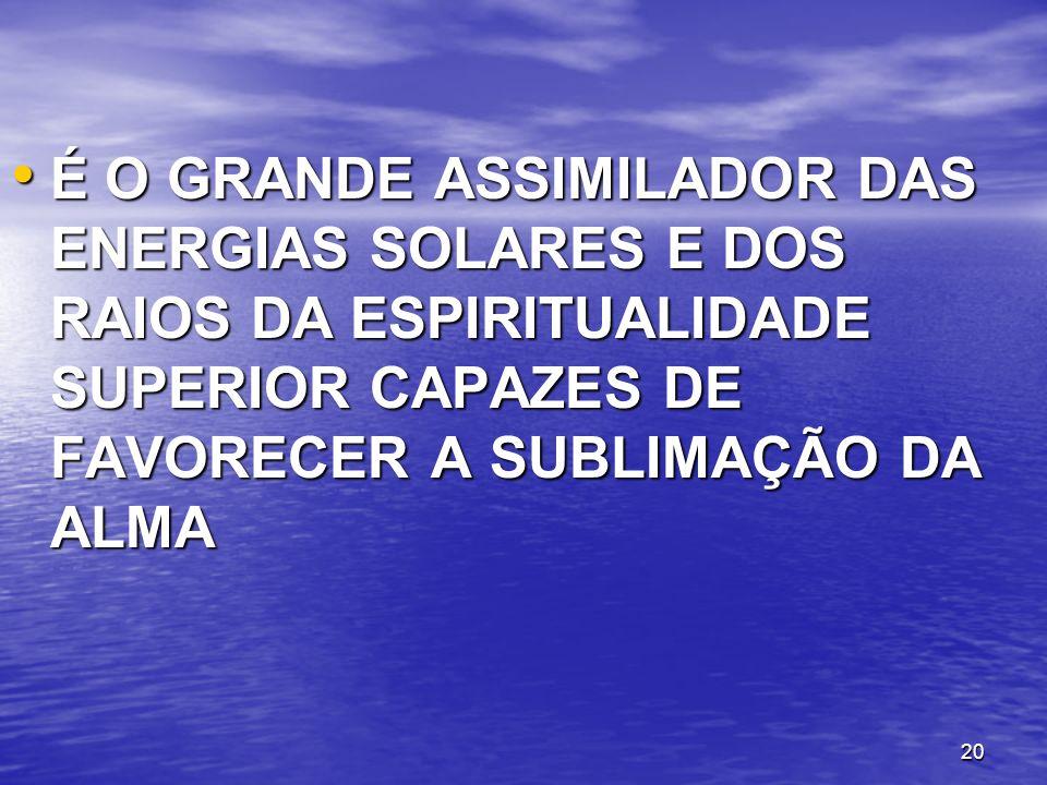É O GRANDE ASSIMILADOR DAS ENERGIAS SOLARES E DOS RAIOS DA ESPIRITUALIDADE SUPERIOR CAPAZES DE FAVORECER A SUBLIMAÇÃO DA ALMA