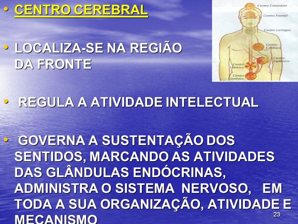 CENTRO CEREBRAL LOCALIZA-SE NA REGIÃO DA FRONTE. REGULA A ATIVIDADE INTELECTUAL.