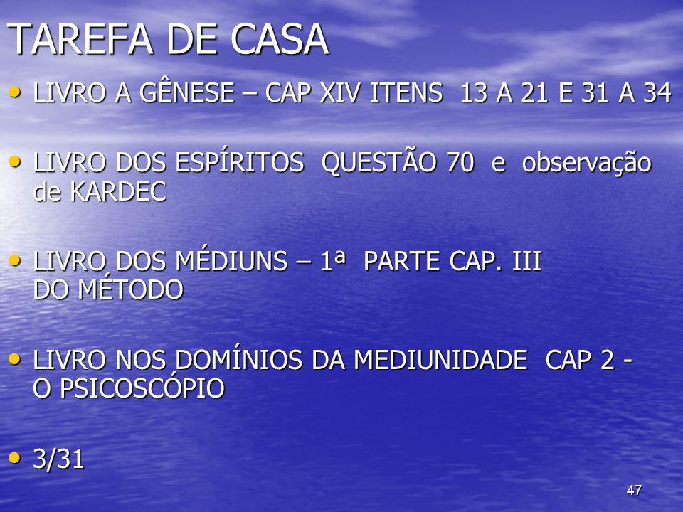 TAREFA DE CASA LIVRO A GÊNESE – CAP XIV ITENS 13 A 21 E 31 A 34