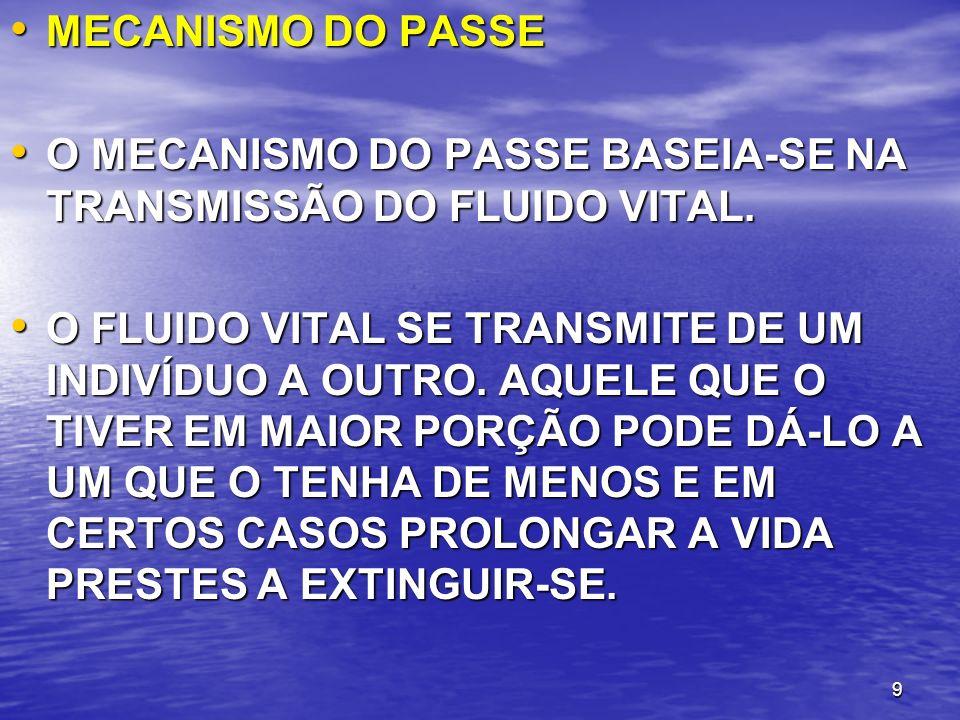 MECANISMO DO PASSE O MECANISMO DO PASSE BASEIA-SE NA TRANSMISSÃO DO FLUIDO VITAL.
