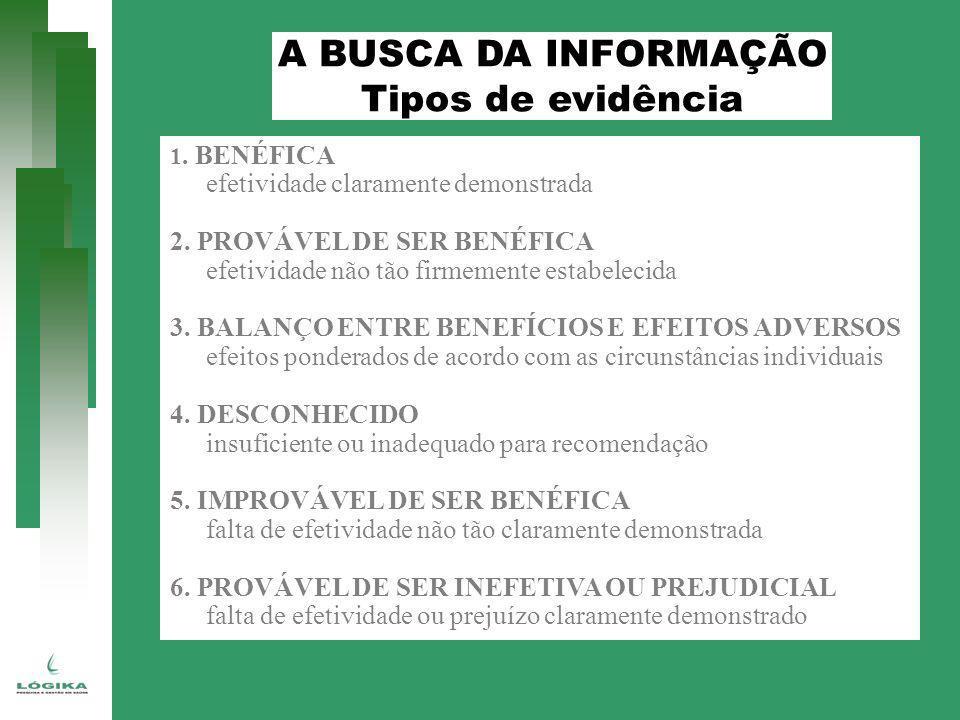 A BUSCA DA INFORMAÇÃO Tipos de evidência