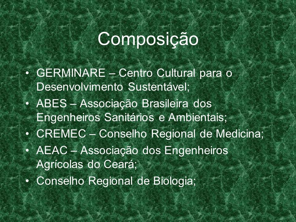 Composição GERMINARE – Centro Cultural para o Desenvolvimento Sustentável; ABES – Associação Brasileira dos Engenheiros Sanitários e Ambientais;