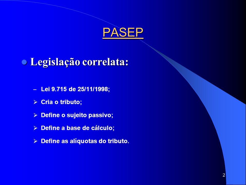 PASEP Legislação correlata: Lei 9.715 de 25/11/1998; Cria o tributo;