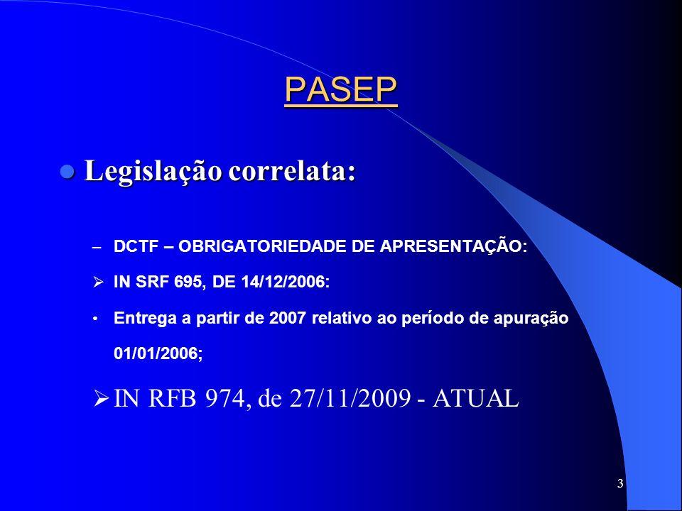 PASEP Legislação correlata: IN RFB 974, de 27/11/2009 - ATUAL