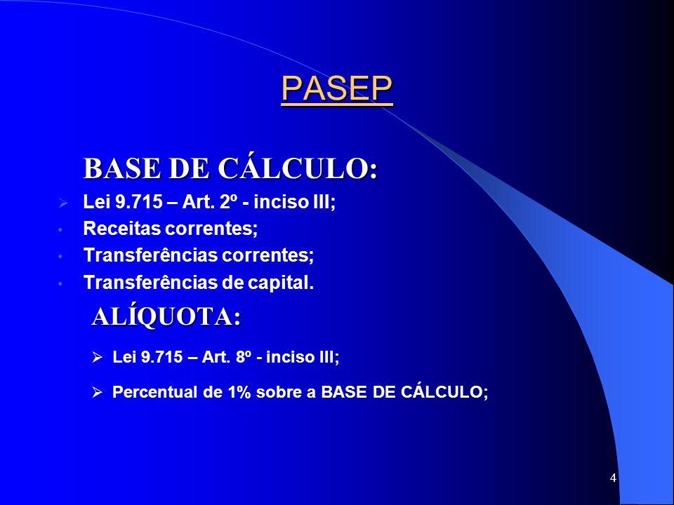 PASEP BASE DE CÁLCULO: ALÍQUOTA: Lei 9.715 – Art. 2º - inciso III;