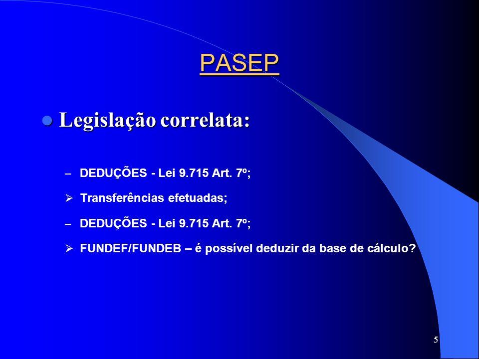 PASEP Legislação correlata: DEDUÇÕES - Lei 9.715 Art. 7º;