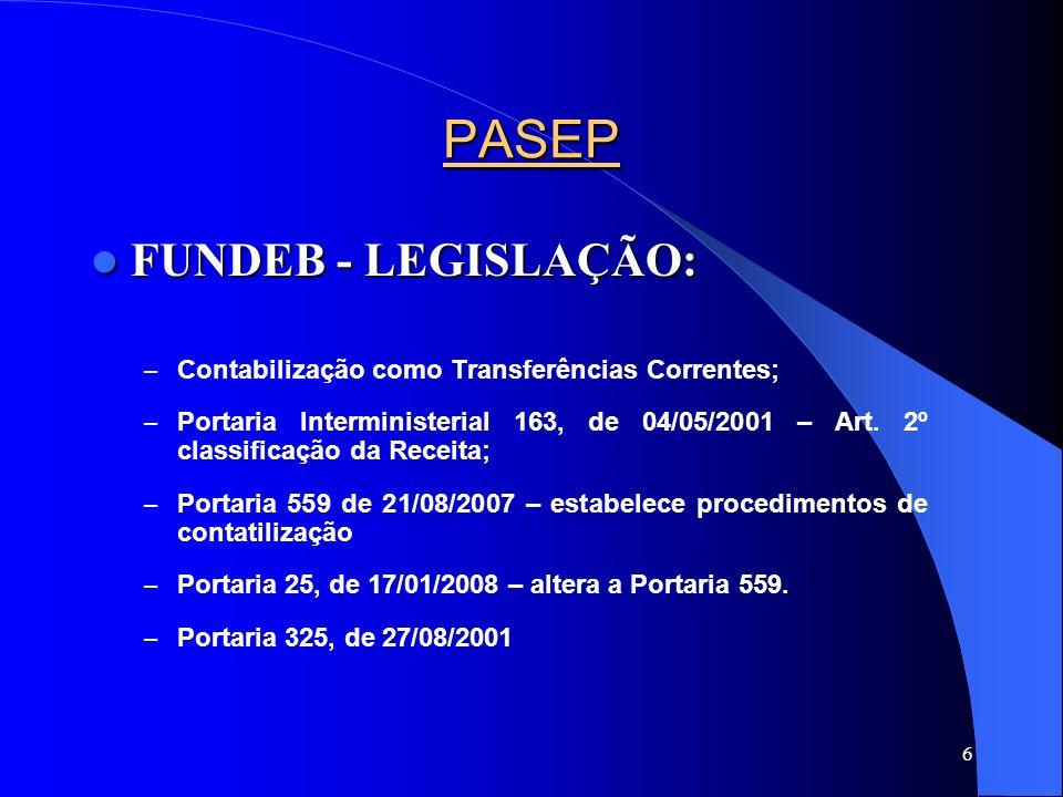 PASEP FUNDEB - LEGISLAÇÃO: