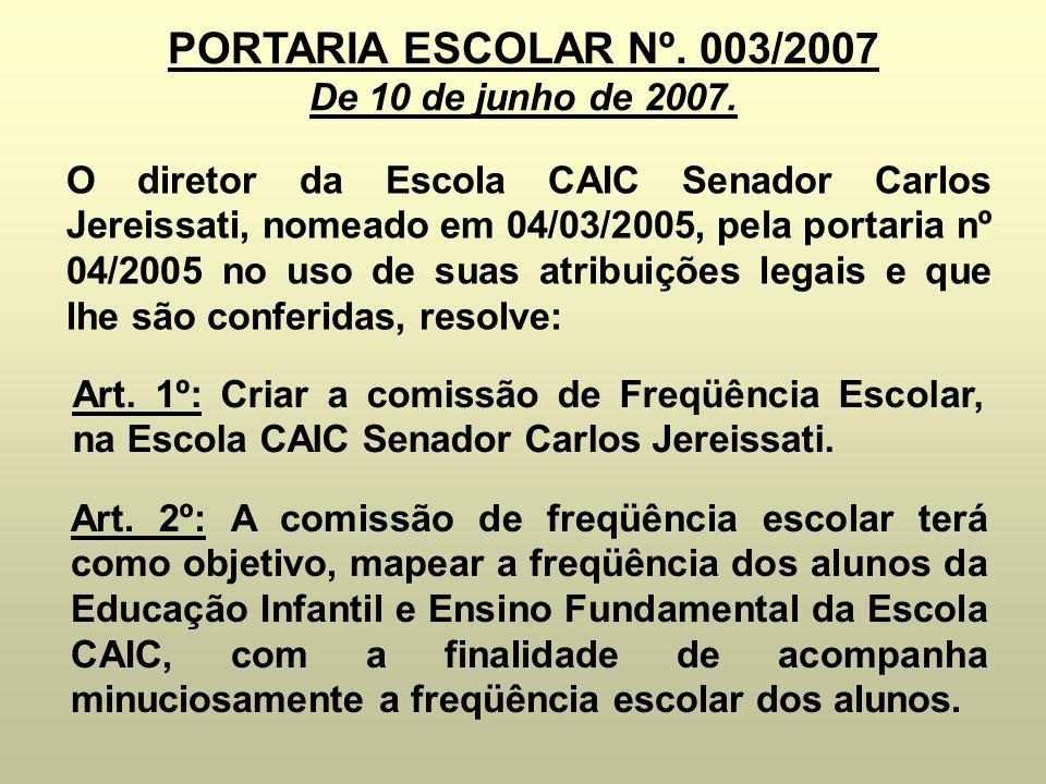 PORTARIA ESCOLAR Nº. 003/2007 De 10 de junho de 2007.