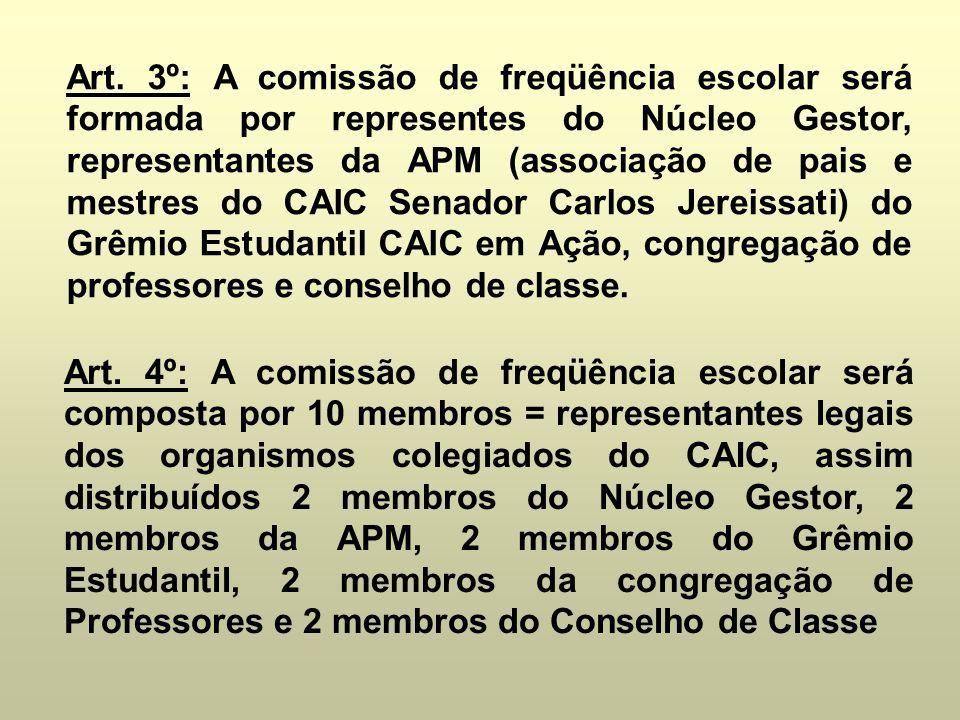 Art. 3º: A comissão de freqüência escolar será formada por representes do Núcleo Gestor, representantes da APM (associação de pais e mestres do CAIC Senador Carlos Jereissati) do Grêmio Estudantil CAIC em Ação, congregação de professores e conselho de classe.