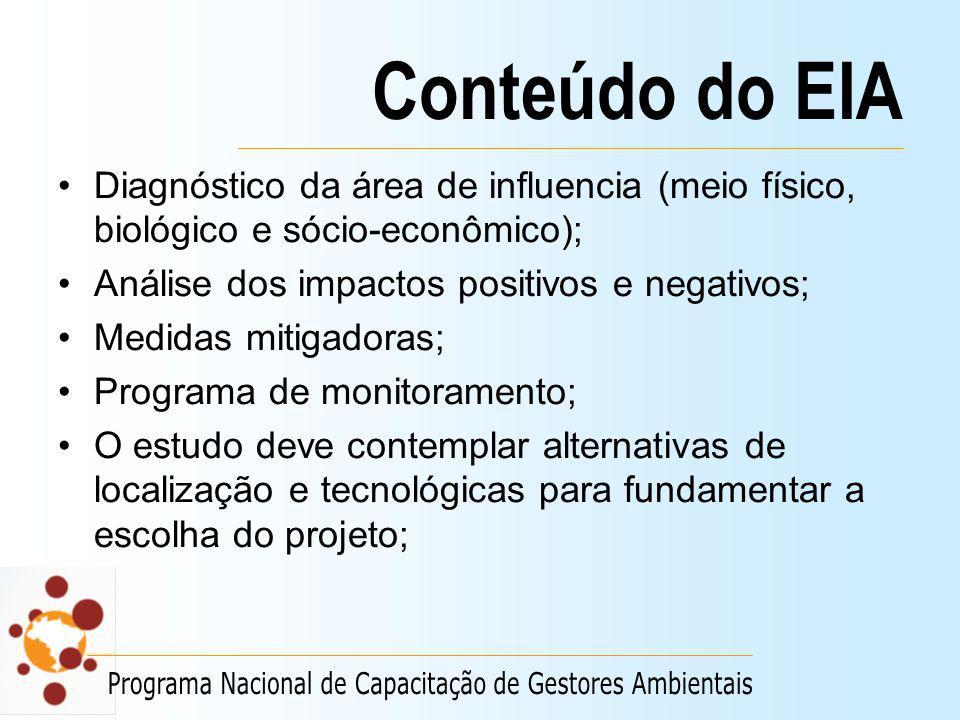 Conteúdo do EIA Diagnóstico da área de influencia (meio físico, biológico e sócio-econômico); Análise dos impactos positivos e negativos;