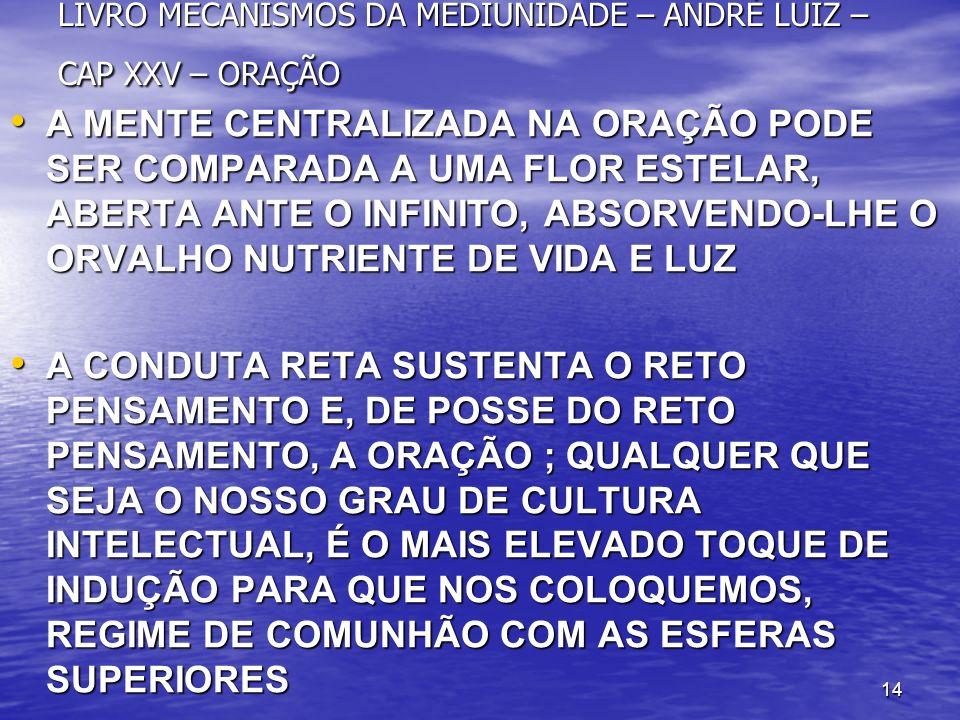 LIVRO MECANISMOS DA MEDIUNIDADE – ANDRÉ LUIZ – CAP XXV – ORAÇÃO