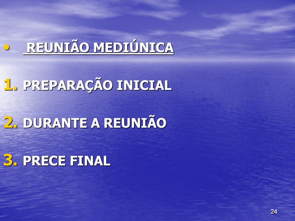 REUNIÃO MEDIÚNICA PREPARAÇÃO INICIAL DURANTE A REUNIÃO PRECE FINAL