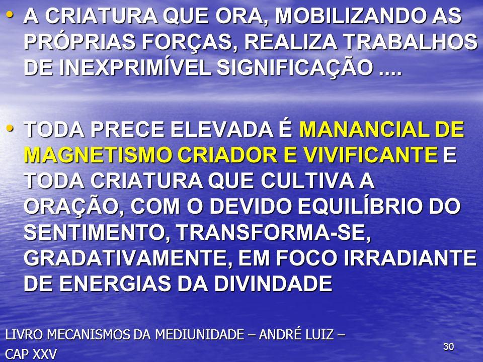 A CRIATURA QUE ORA, MOBILIZANDO AS PRÓPRIAS FORÇAS, REALIZA TRABALHOS DE INEXPRIMÍVEL SIGNIFICAÇÃO ....