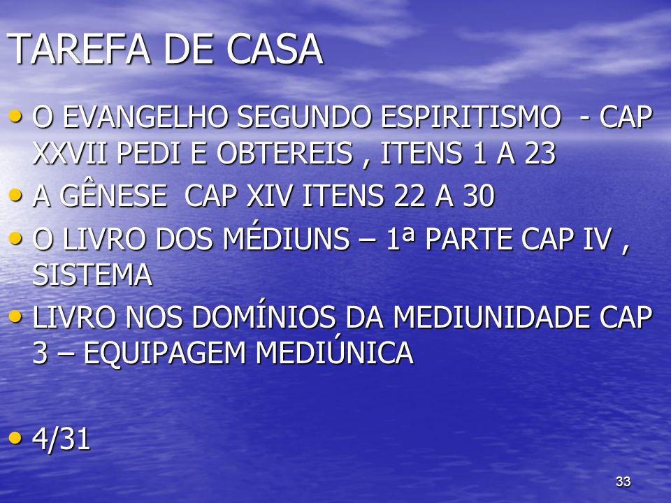TAREFA DE CASA O EVANGELHO SEGUNDO ESPIRITISMO - CAP XXVII PEDI E OBTEREIS , ITENS 1 A 23. A GÊNESE CAP XIV ITENS 22 A 30.