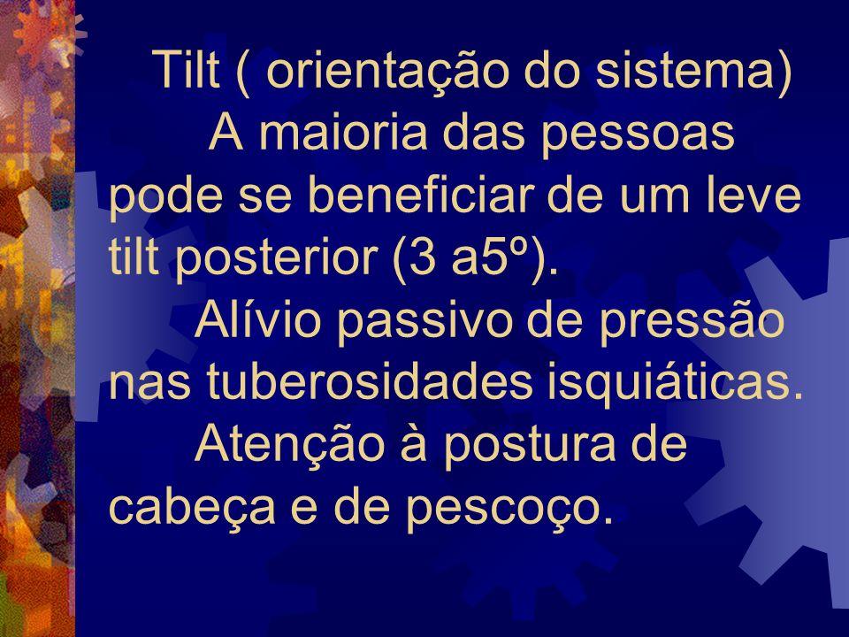 Tilt ( orientação do sistema) A maioria das pessoas pode se beneficiar de um leve tilt posterior (3 a5º).