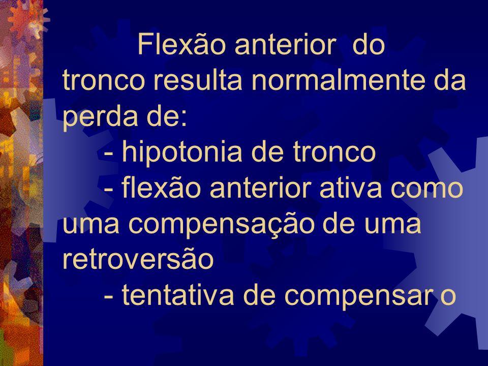 Flexão anterior do tronco resulta normalmente da perda de: - hipotonia de tronco - flexão anterior ativa como uma compensação de uma retroversão - tentativa de compensar o
