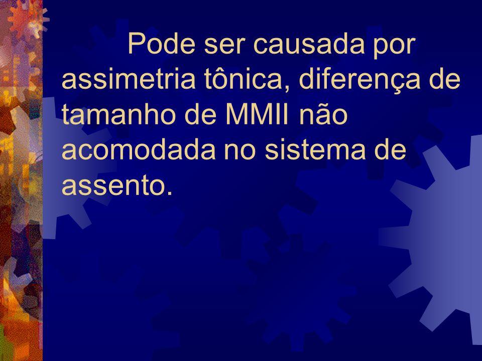 Pode ser causada por assimetria tônica, diferença de tamanho de MMII não acomodada no sistema de assento.
