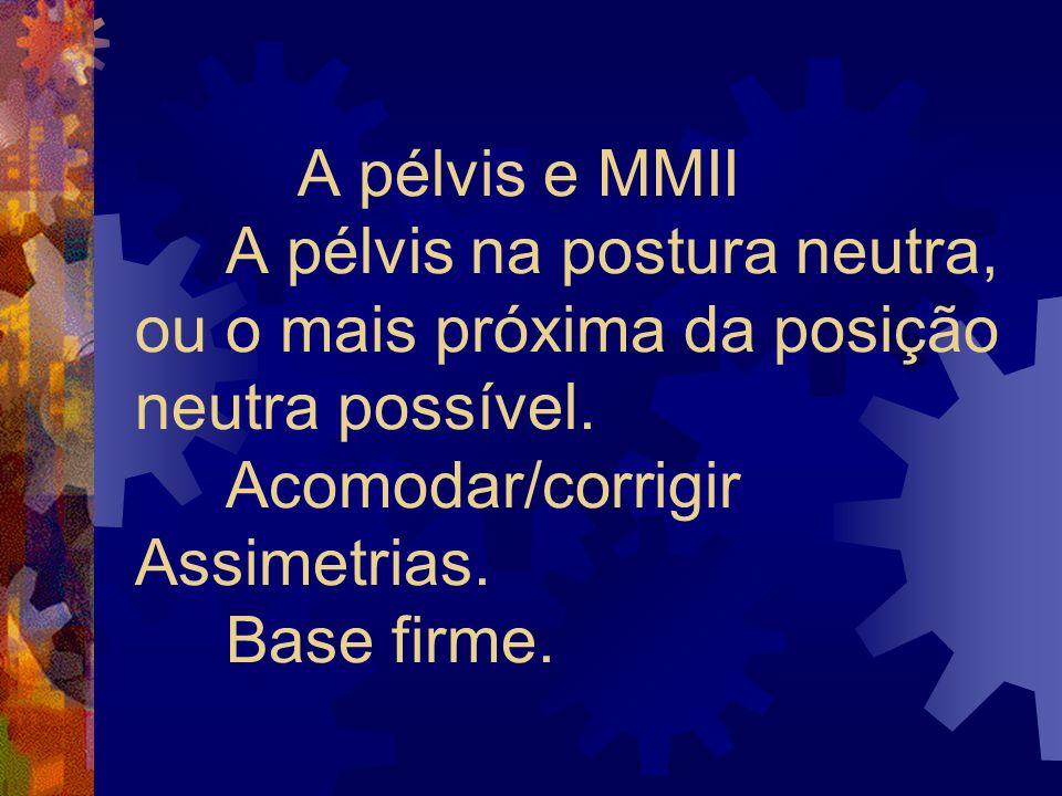 A pélvis e MMII A pélvis na postura neutra, ou o mais próxima da posição neutra possível.