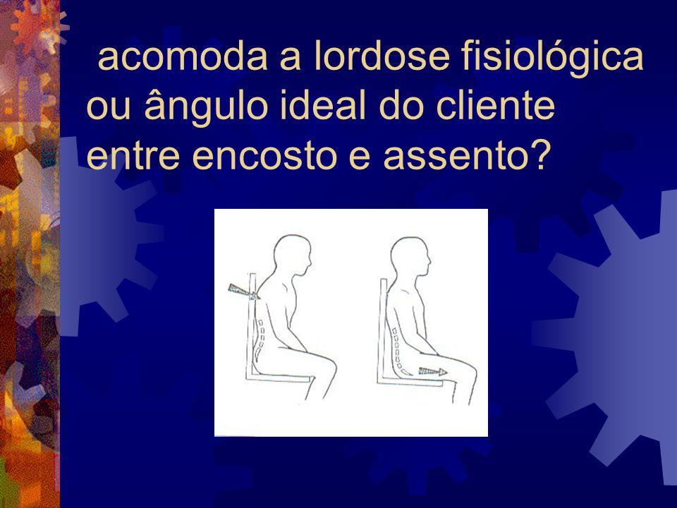 acomoda a lordose fisiológica ou ângulo ideal do cliente entre encosto e assento