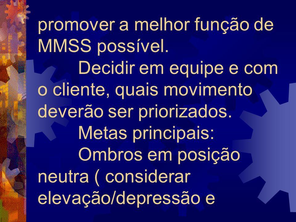 promover a melhor função de MMSS possível