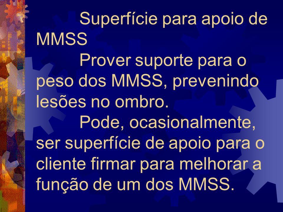 Superfície para apoio de MMSS Prover suporte para o peso dos MMSS, prevenindo lesões no ombro.