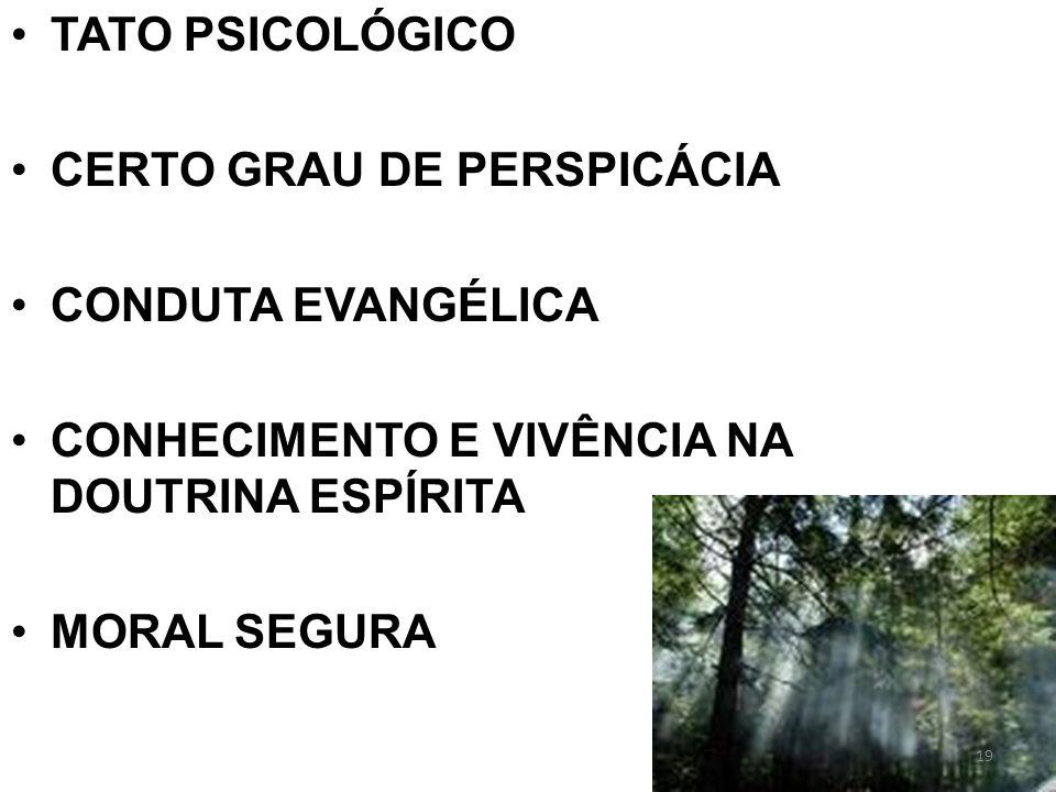 TATO PSICOLÓGICO CERTO GRAU DE PERSPICÁCIA. CONDUTA EVANGÉLICA. CONHECIMENTO E VIVÊNCIA NA DOUTRINA ESPÍRITA.