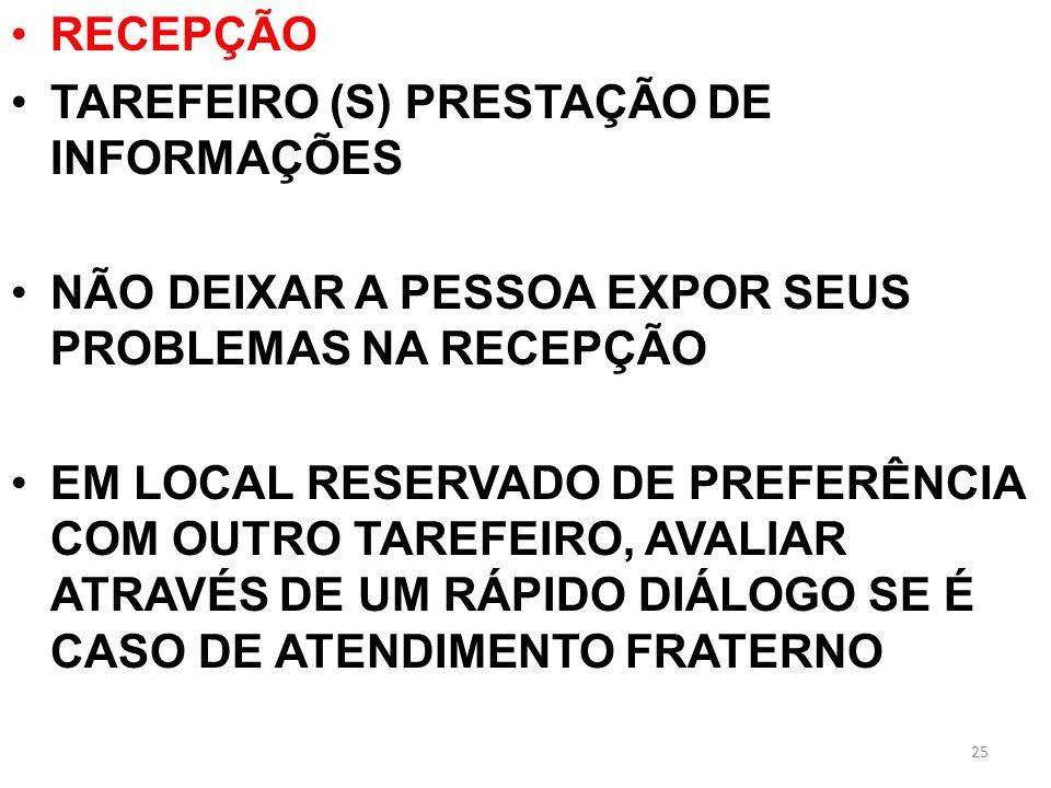 RECEPÇÃO TAREFEIRO (S) PRESTAÇÃO DE INFORMAÇÕES. NÃO DEIXAR A PESSOA EXPOR SEUS PROBLEMAS NA RECEPÇÃO.