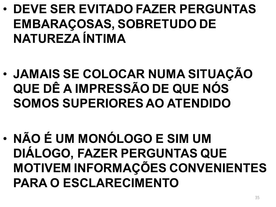 DEVE SER EVITADO FAZER PERGUNTAS EMBARAÇOSAS, SOBRETUDO DE NATUREZA ÍNTIMA