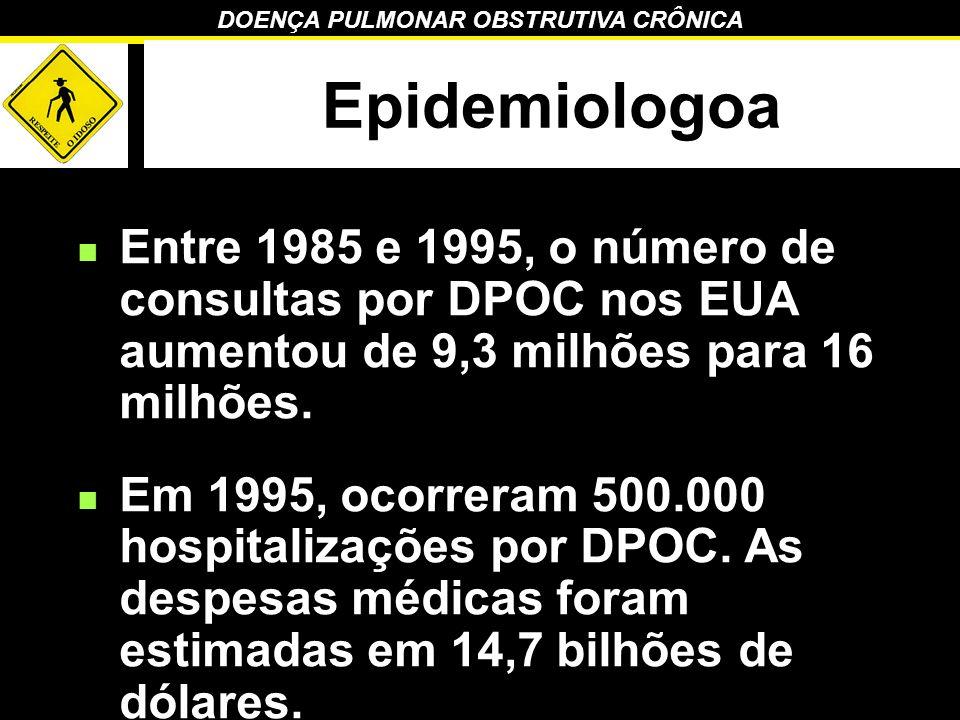 Epidemiologoa Entre 1985 e 1995, o número de consultas por DPOC nos EUA aumentou de 9,3 milhões para 16 milhões.