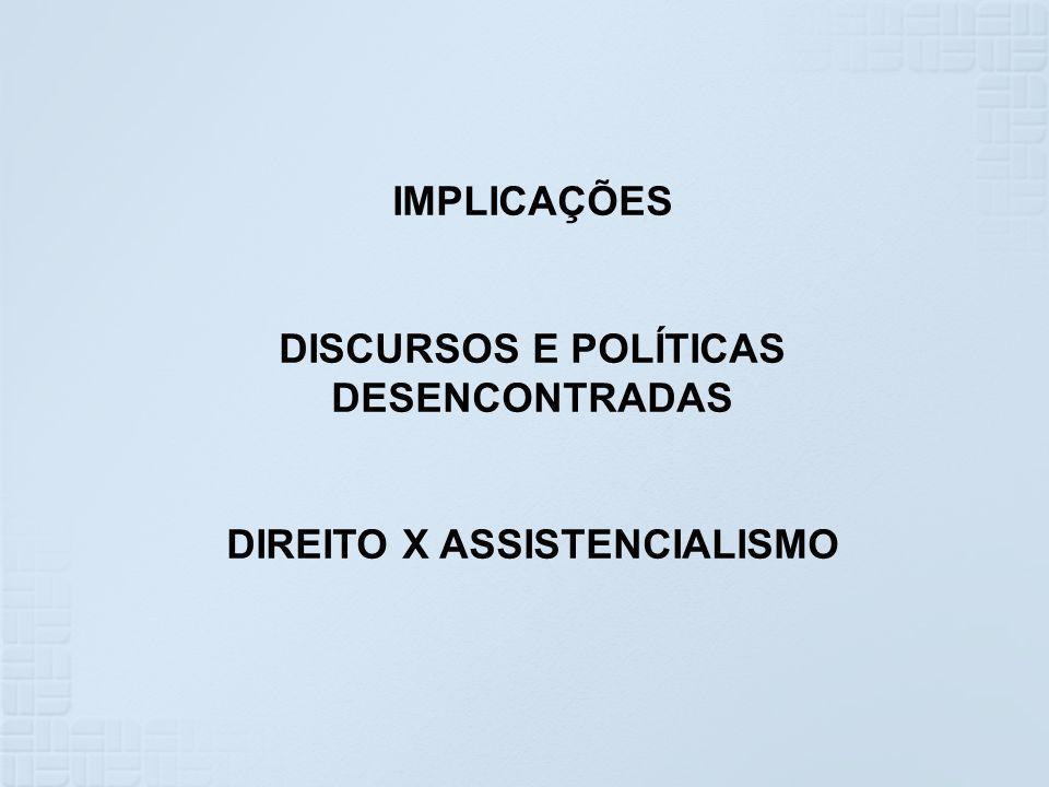DISCURSOS E POLÍTICAS DESENCONTRADAS DIREITO X ASSISTENCIALISMO