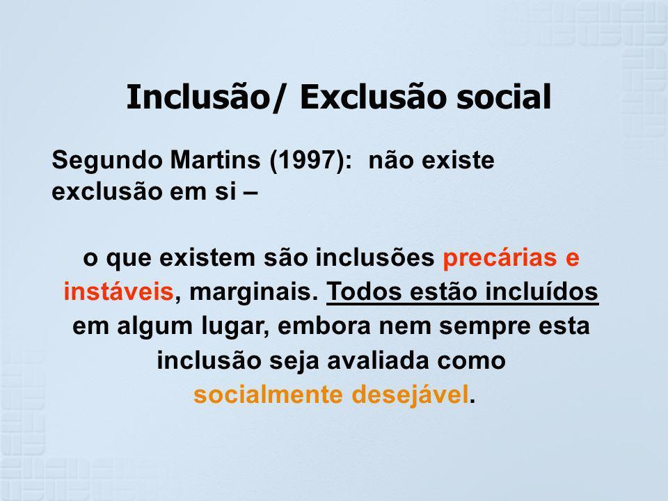 Inclusão/ Exclusão social socialmente desejável.