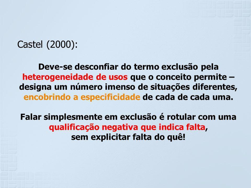 Castel (2000): Deve-se desconfiar do termo exclusão pela