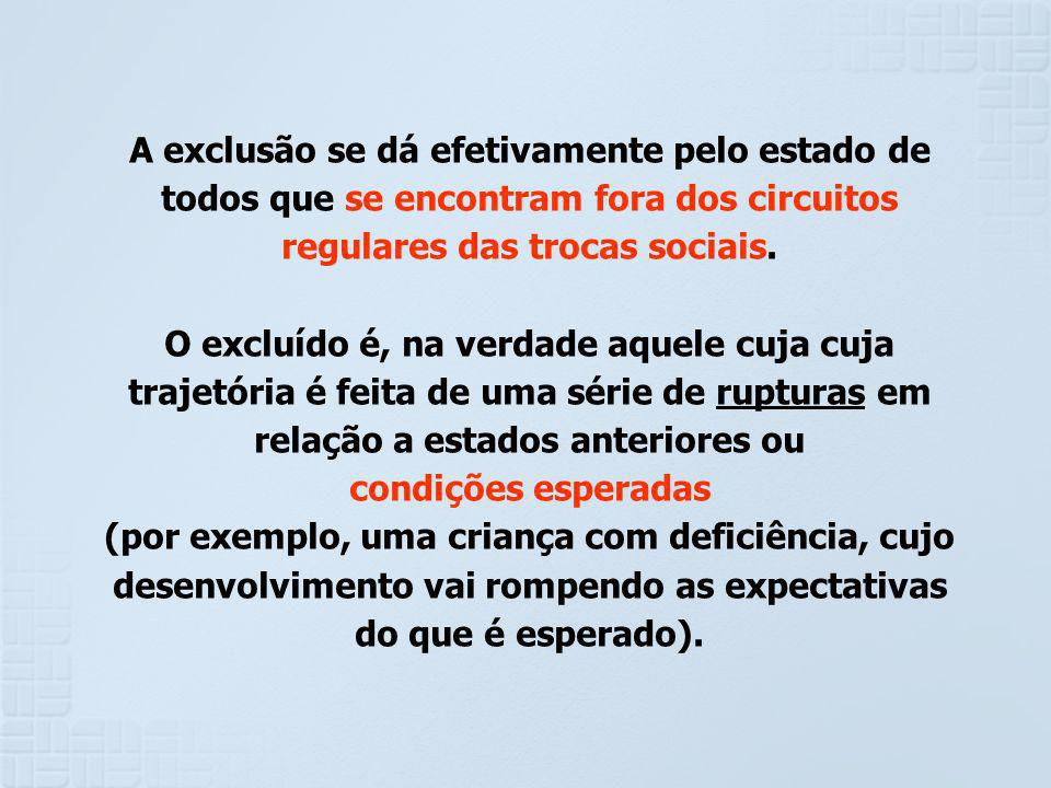 A exclusão se dá efetivamente pelo estado de todos que se encontram fora dos circuitos regulares das trocas sociais.