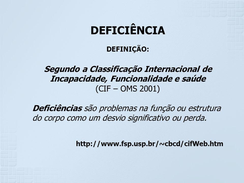 DEFICIÊNCIA DEFINIÇÃO: Segundo a Classificação Internacional de Incapacidade, Funcionalidade e saúde.