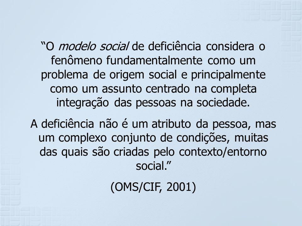 O modelo social de deficiência considera o fenômeno fundamentalmente como um problema de origem social e principalmente como um assunto centrado na completa integração das pessoas na sociedade.