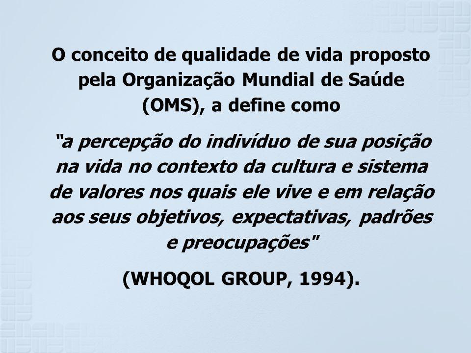 O conceito de qualidade de vida proposto pela Organização Mundial de Saúde (OMS), a define como