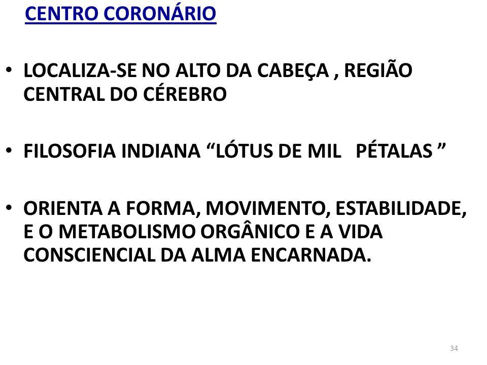 CENTRO CORONÁRIO LOCALIZA-SE NO ALTO DA CABEÇA , REGIÃO CENTRAL DO CÉREBRO.