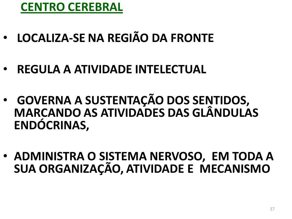 CENTRO CEREBRALLOCALIZA-SE NA REGIÃO DA FRONTE. REGULA A ATIVIDADE INTELECTUAL.