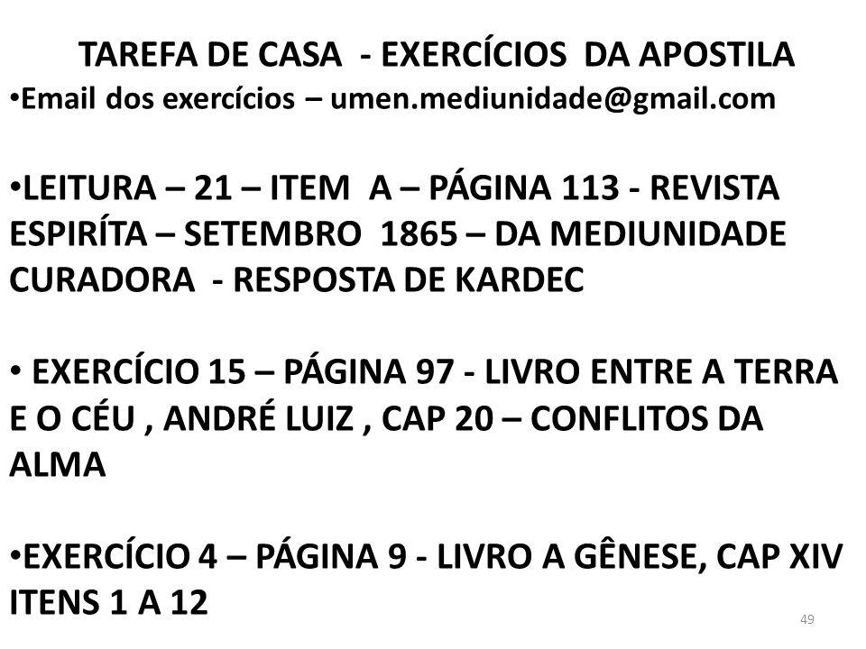 TAREFA DE CASA - EXERCÍCIOS DA APOSTILA