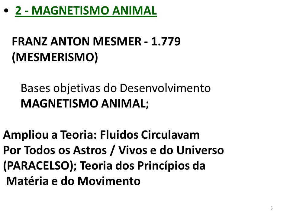 2 - MAGNETISMO ANIMALFRANZ ANTON MESMER - 1.779. (MESMERISMO) Bases objetivas do Desenvolvimento. MAGNETISMO ANIMAL;