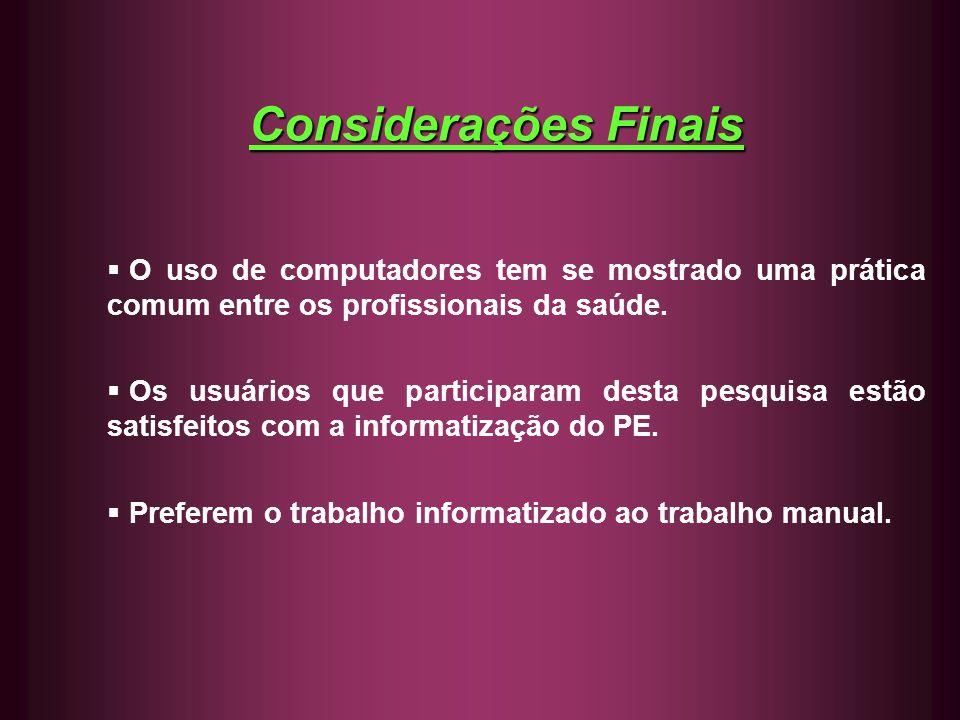 Considerações Finais O uso de computadores tem se mostrado uma prática comum entre os profissionais da saúde.