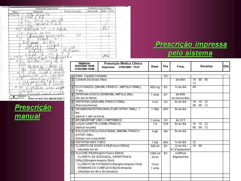 Prescrição impressa pelo sistema Prescrição manual