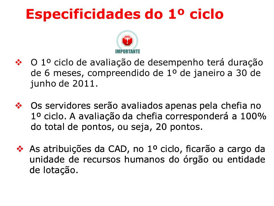 Especificidades do 1º ciclo