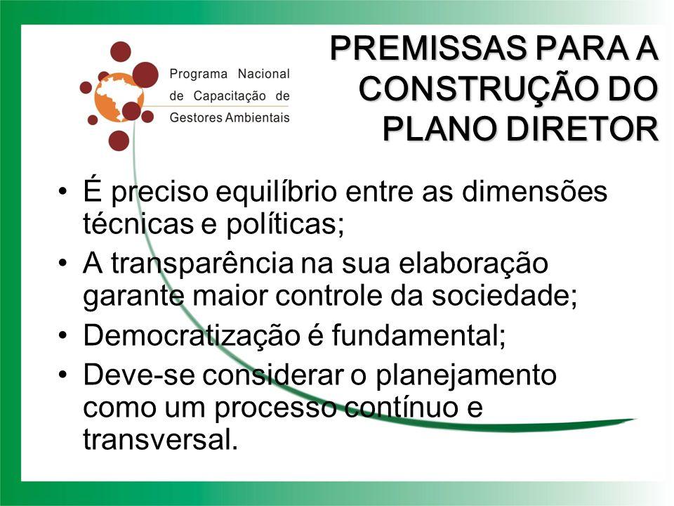 PREMISSAS PARA A CONSTRUÇÃO DO PLANO DIRETOR