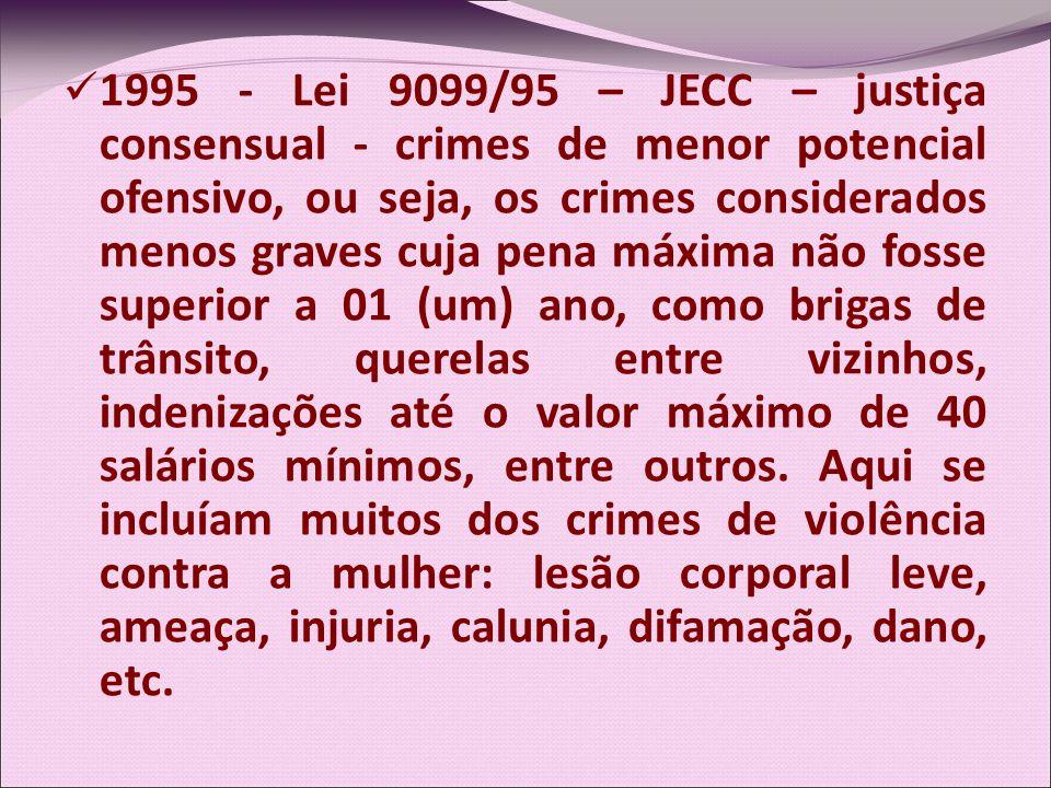 1995 - Lei 9099/95 – JECC – justiça consensual - crimes de menor potencial ofensivo, ou seja, os crimes considerados menos graves cuja pena máxima não fosse superior a 01 (um) ano, como brigas de trânsito, querelas entre vizinhos, indenizações até o valor máximo de 40 salários mínimos, entre outros.